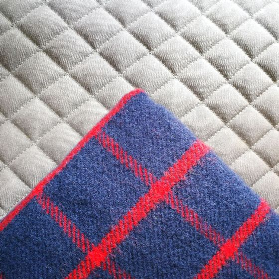 Chequered Navy Blue & Red Wool Blanket / Throw
